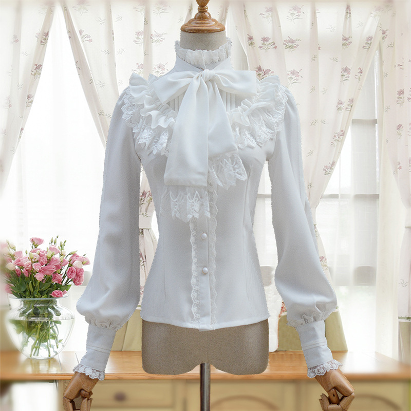 Vintage Womens Long Sleeved Shirt Stand Collar Sleeve Blouse with Knotted Bow 4 Colors