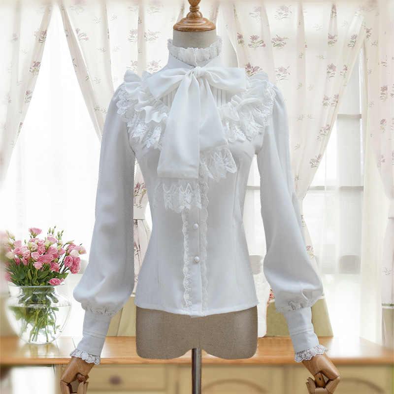 Vintage damska koszula lolita Gothic szyfonowa bluzka z falbanami z długim rękawem Blusas czarny/biały/granatowy/bordowy