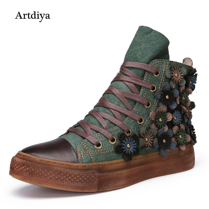 Artdiya 2018 Autumn and Winter New Genuine Leather High Skateboard Shoes Women Boots Retro Flat Casual Ankle Boots 388-106 autumn and winter new leather shoes with leather boots and boots with flat boots british classic classic hot wild casual shoes