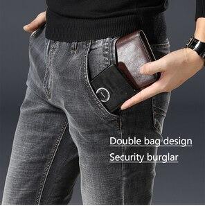Image 1 - Irmão wang roupas masculinas anti roubo zíper jeans 2020 nova moda casual em linha reta algodão elástico tamanho grande marca masculina jean