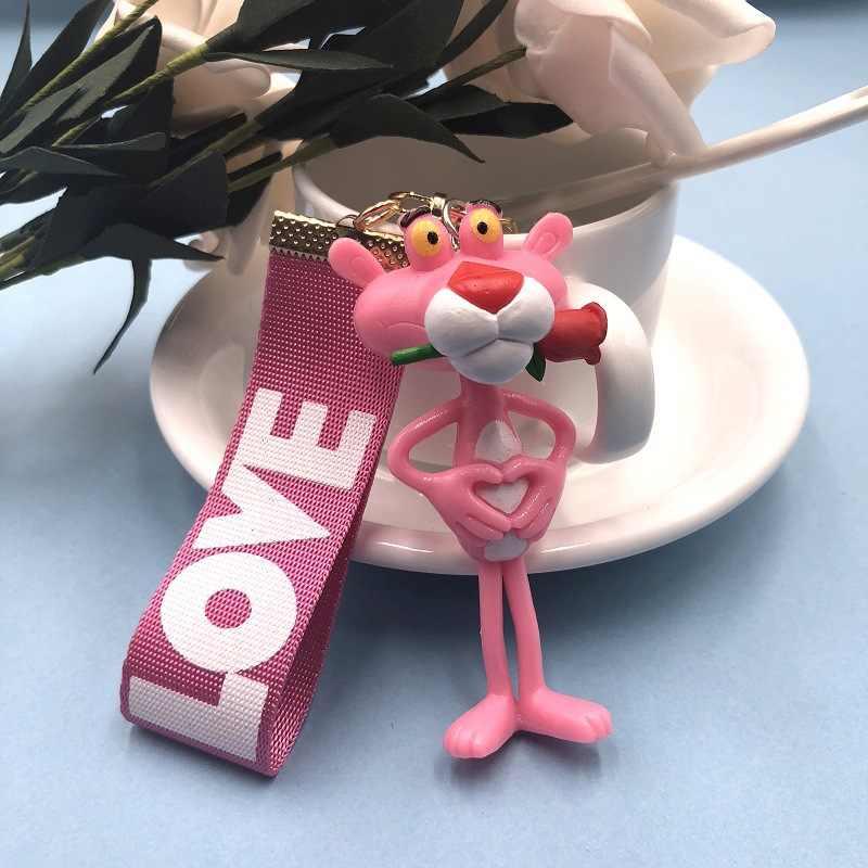 2019 Panas Baru Gantungan Kunci Vinyl Boneka Hadiah untuk Wanita Pink Panther Kartun Gantungan Kunci Ulang Tahun Kreatif Gantungan Kunci Ring