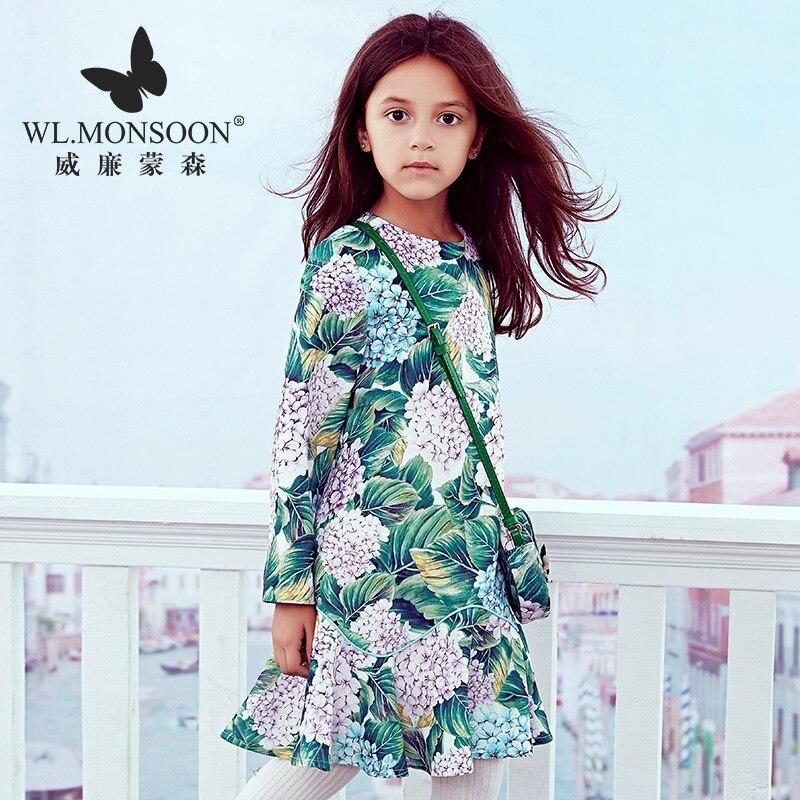 Marque euro-américaine enfants portent nouvelle automne fille robe à manches longues princesse robe filles imprimer vêtements enfants robes pour filles