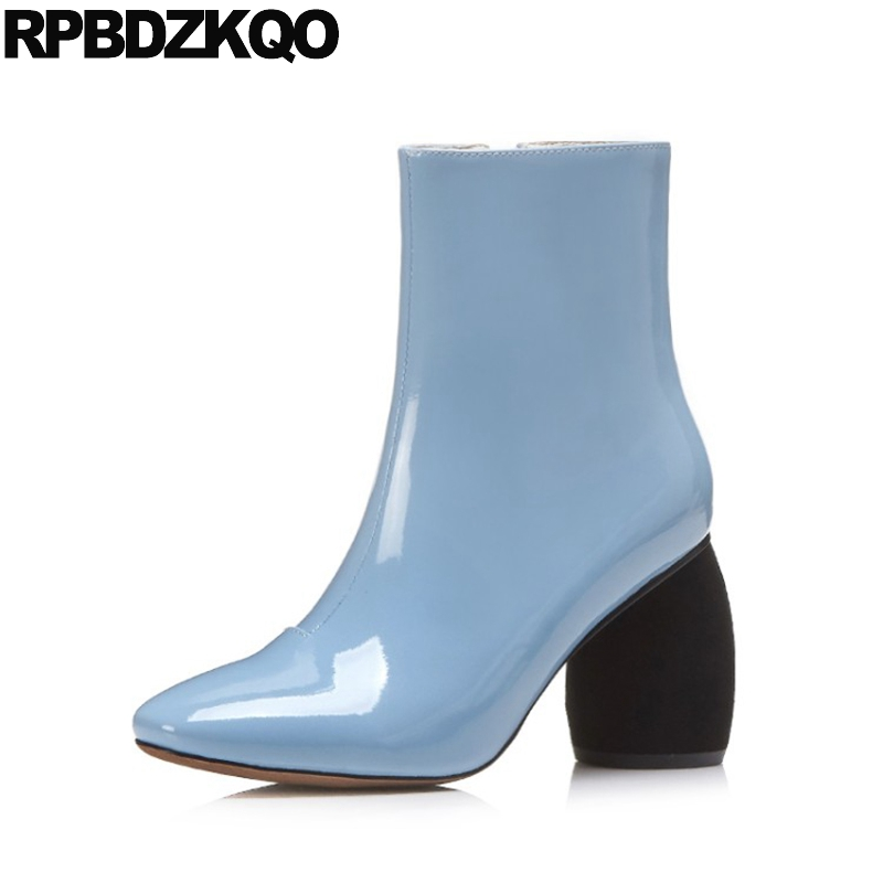 Luxury Brand Shoes Women Patent Leather Boots Ankle Fall Square Toe 10 Pink Waterproof 2017 High Heel Blue Big Size Chunky 11 fall flat black waterproof 2017 women shoes retro front lace up casual ankle boots autumn patent leather chunky booties vintage