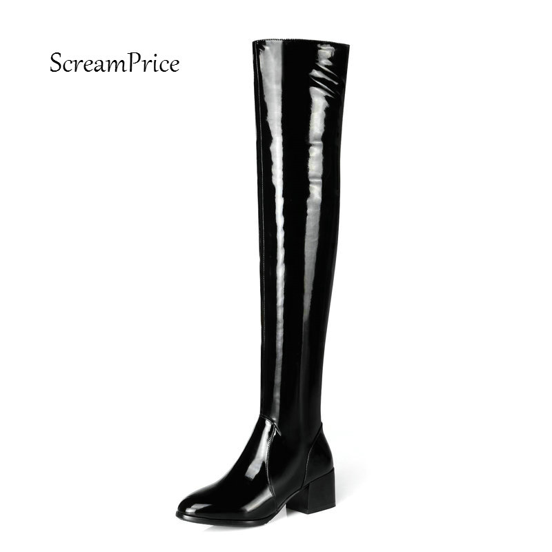 Women Genuine Leather Side Zipper Fashion Thigh Boots Women Winter Comfortable Thick Heel Shoes Black A