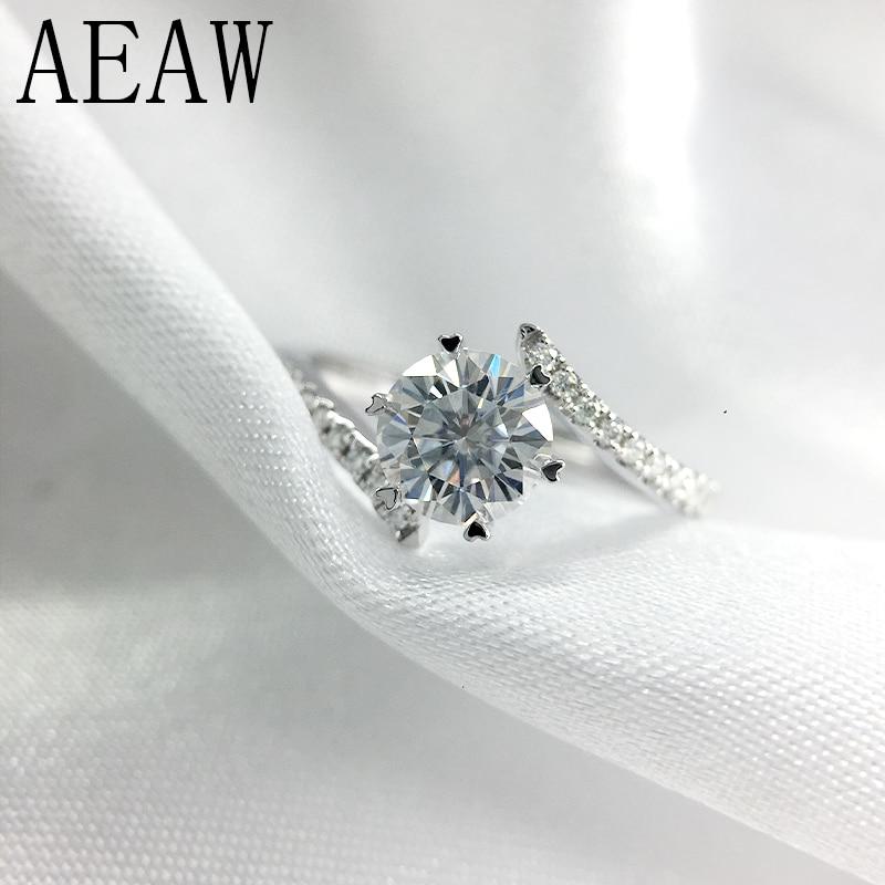 AEAW 0 8 Carat 6mm Round Cut D Color Engagement Wedding Moissanite Diamond Ring Platinum Plated