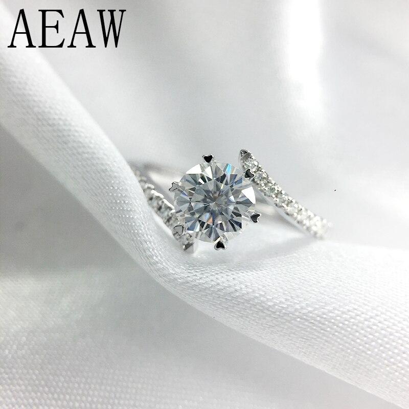 AEAW 0.8 Carat 6mm taille ronde D couleur fiançailles & mariage bague diamant Moissanite plaqué argent platine