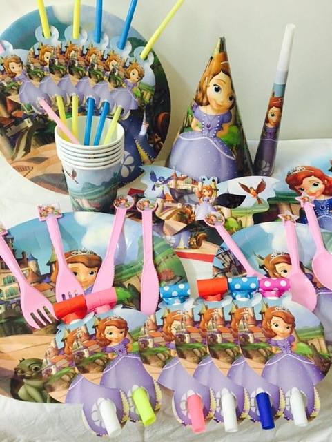 Diy sofia the first kids birthday decoration set princess for 1st birthday party decoration packs
