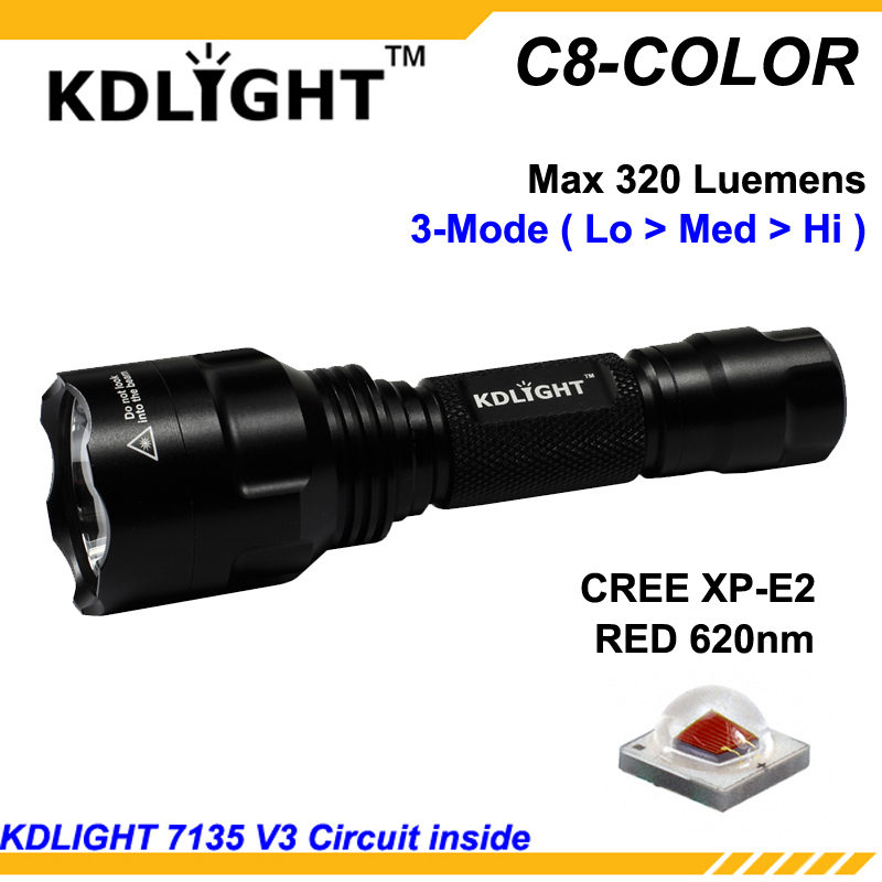KDLITKER C8-COLOR Cree XP-E2 Red 620nm 320 Lumens Camping Hunting LED Flashlight - Black   1x18650