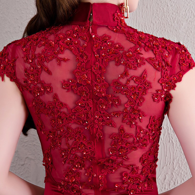 Qipao Long Cheongsams Chinese Wedding Dress 2018 Fashion Tailing Evening Dress Traditional Oriental Style Dresses Red Wine in Sets from Novelty Special Use