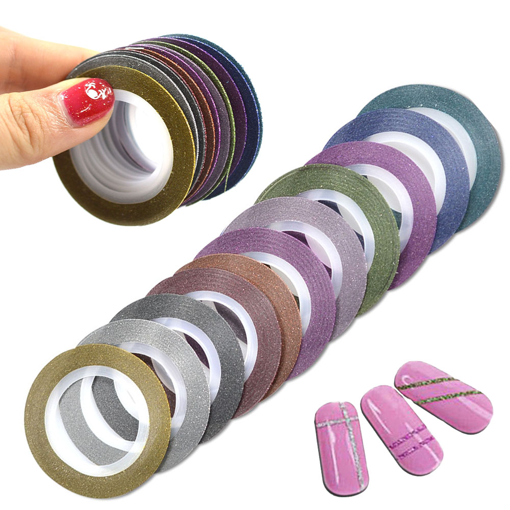 12pcs/lot 1mm 12 Colors Glitter Nail Striping Tape Line For Nails DIY Decoration Nail Art Stickers Beauty Accessories BENC392