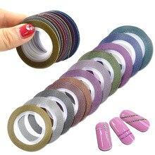 12 шт./лот, 1 мм, 12 цветов, блестящие полоски для ногтей, лента для ногтей, сделай сам, декоративные наклейки для ногтей, аксессуары для красоты, BENC392