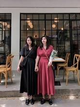 Fat large loose dress womens summer V collar plus size V-neck Short sleeve  maxi Loose dresses holiday
