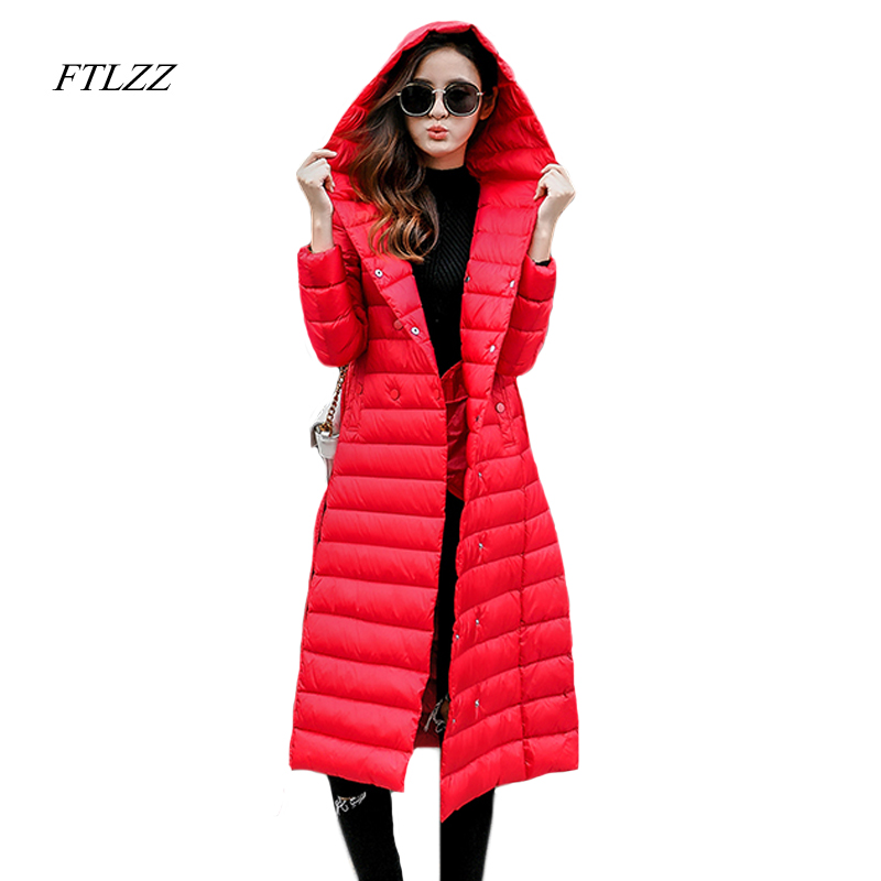 Ftlzz Winter Women Hooded Down Jacket Medium Long Slim Ultra Light Down Jackets Solid Color Big