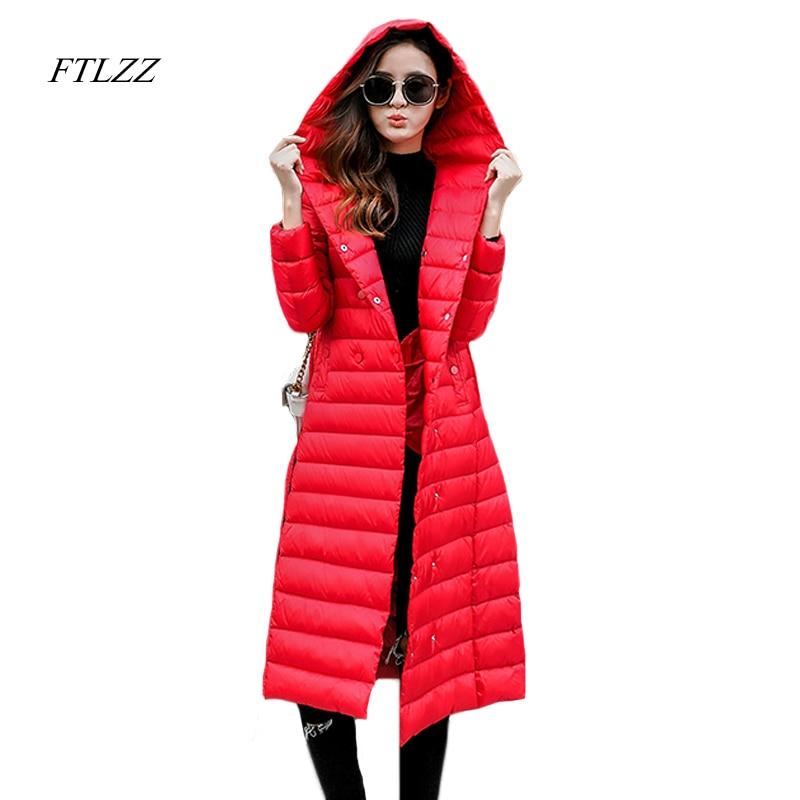Kadın Giyim'ten Şişme Montlar'de Ftlzz Kış Kadın Kapşonlu Aşağı Ceket Orta Uzun Ince Ultra Hafif Aşağı Ceketler Katı Renk Büyük Artı Boyutu Ördek Aşağı parkas'da  Grup 1