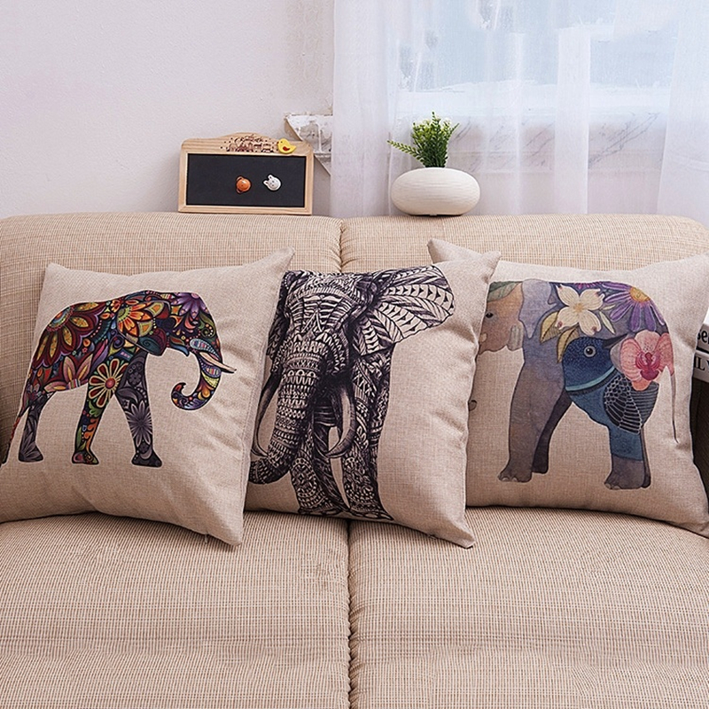 Useful 2016 Hot Sale Elephant Cotton Linen Pillow Case For Office/bedroom/chair Seat Cushion 18x18 Inches Free Shipping Cushion Cover