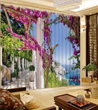 European style window cutains landscape living room girls curtains for bedroom Home Decoration(China)