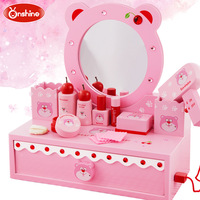 Onshine Cherry Bear Pink Simulation Dressing Table Solid Wood Dressing suit Pretend Play Furniture Toys for Girl Gifts