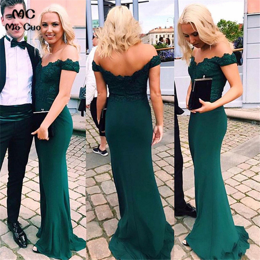 Off Shoulder   Bridesmaid     Dresses   Long with Appliques Short Sleeve Elastic Satin Maid of Honer Long   Bridesmaid     Dress   for women
