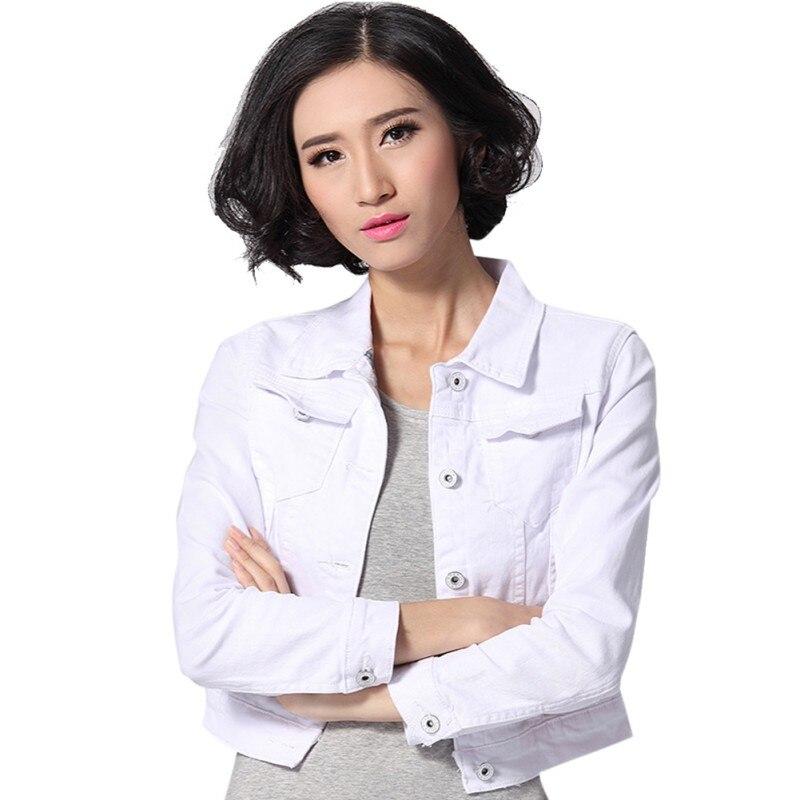2017 Denim Slim Jacket Women Short Autumn Overcoat Ladies Jackets Tops Turn Down Collar White Black casual long sleeve D1
