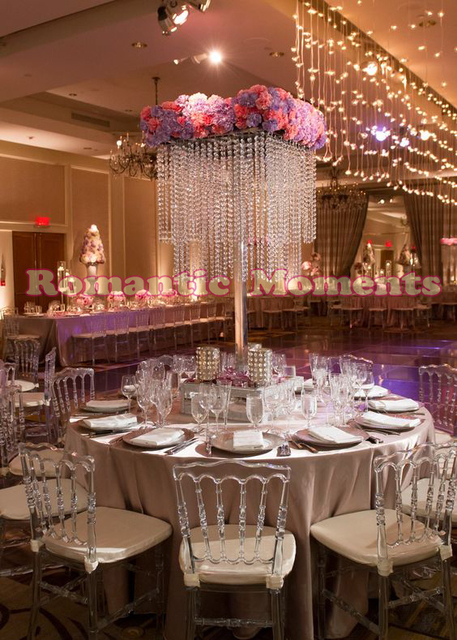 Crystal Table Centerpieces Metal Flower Stand Wedding Decoration 80cm Tall
