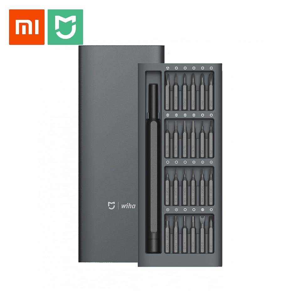 Original Xiaomi Mijia Wiha Daily Use Screwdriver Kit 24 Precision Magnetic Bits Alluminum Box Wiha DIY Screw Driver Set отвертка t30x150 wiha comfortgrip 364ds 26177