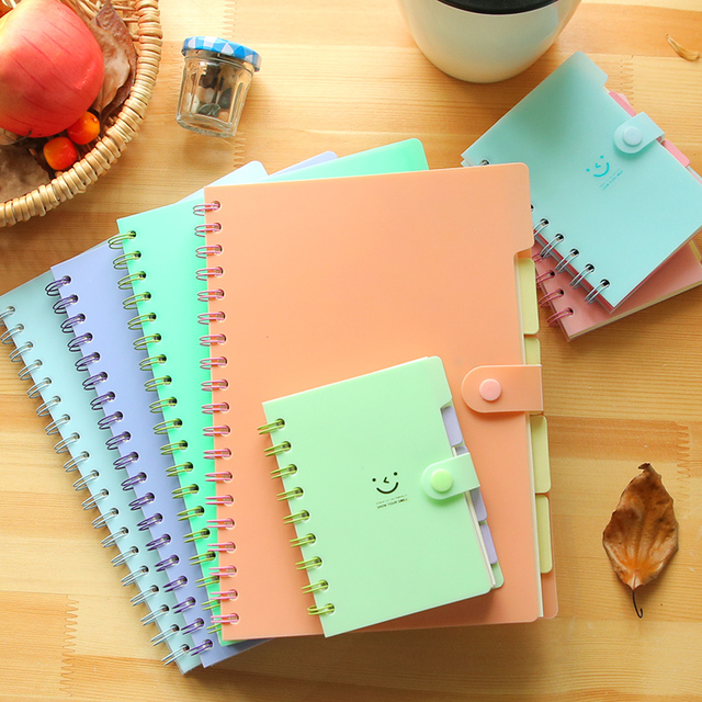 Korea Creative book Portable smile coil notebooks Spiral Diary Book Mini Notebook Agenda Caderno Escolar Office  School Supplies