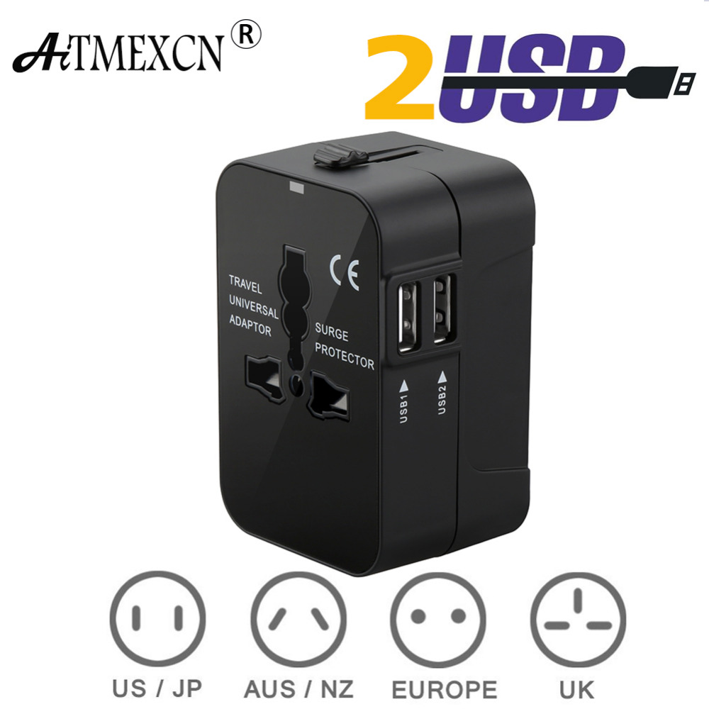 Travel Adapter Worldwide All in One Universal Travel Adaptor Wall AC Power Plug Adapter Wall Charger with Dual USB Charging Port 6 usb port ac power charger adapter w us plug for iphone ipad ipod samsung tablet pc white