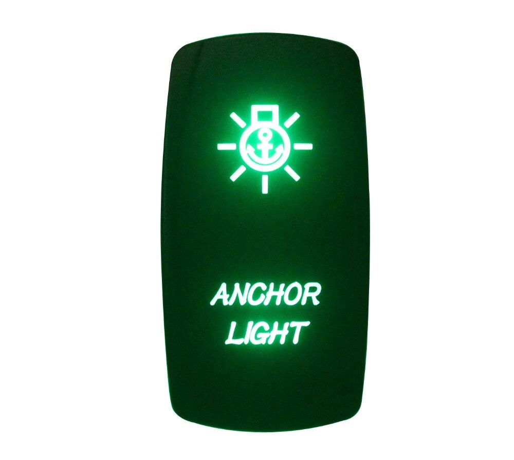 DC 12V 24V ANCHOR LIGHT Rocker Switch GREEN Led lamp 5 Pin ON/OFF SPST Waterproof IP66