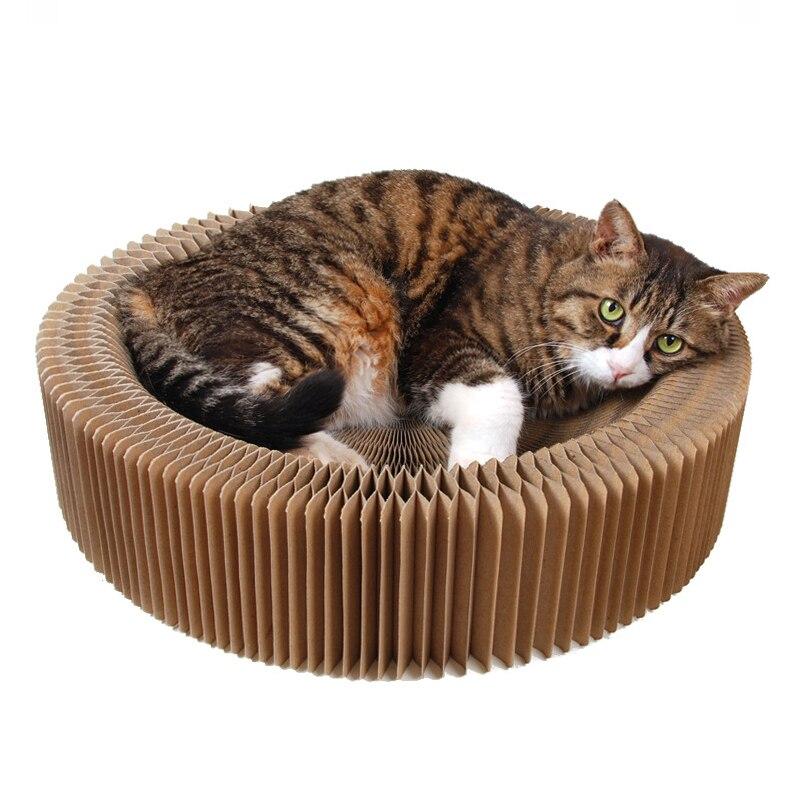 Carton ondulé se pliant de chat de maison de lit de Scratcher de chat d'animal familier pour des chats grattant la plaque de jouet avec des jouets de chat d'herbe à chat