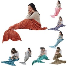 CAMMITEVER 2Sizes Mermaid Tail Blanket Yarn Knitted Handmade Crochet Mermaid Blanket Kids Throw Bed Wrap Super Soft Sleeping Bed winter sleeping bag bed throw wrap mermaid blanket