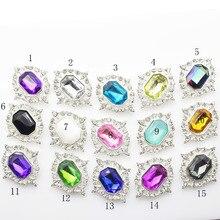 32*26mm DIY (Mixed Order) 10pcs/ set rhinestone alloy many Color Diamond button Wedding Decorative Girl Jewelry accessory