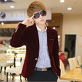 mens red velvet blazer blazer jacket homme 2015 boy men's-blazer chaqueta one button blazers long sleeve casual men suit jacket