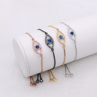 Evil Eye Bracelets Micro Pave Stone Pendant Australia Bracelets Jewelry Adjustable Chain Macrame Bracelet For Women