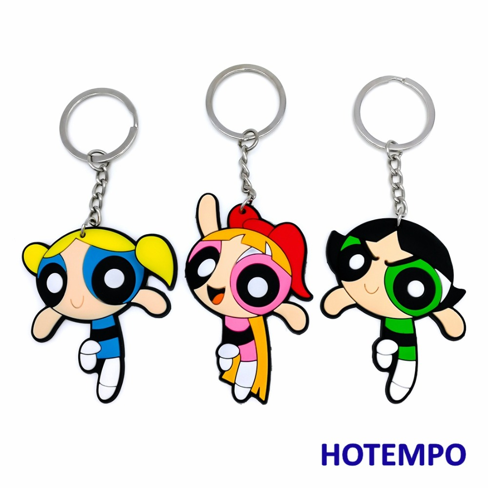 Powerpuff Girls Soft PVC Action Figure Blossom Bubbles Buttercup Magnetic Sticker Luggage Pendant Toys Keychains Toys
