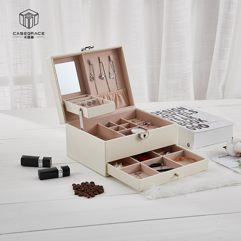 Casegrace Multi-Function Storage Box Leather Jewelry Box Multi-Layer Large-Capacity Jewelry Organizer For Necklace Rings Earring