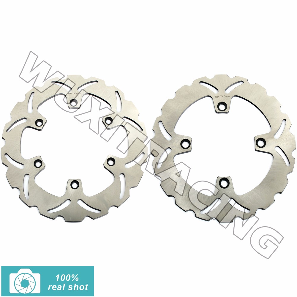 2Pcs Full Set Front Rear Brake Discs Rotors for Honda CB 500 1997 1998 1999 2000 2001 200 2003 XRV AFRICA TWIN 650 1988-1989 mfs motor front rear brake discs rotor for suzuki gsxr 600 750 1997 1998 1999 2000 2001 2002 2003 gsxr1000 2000 2001 2002 gold
