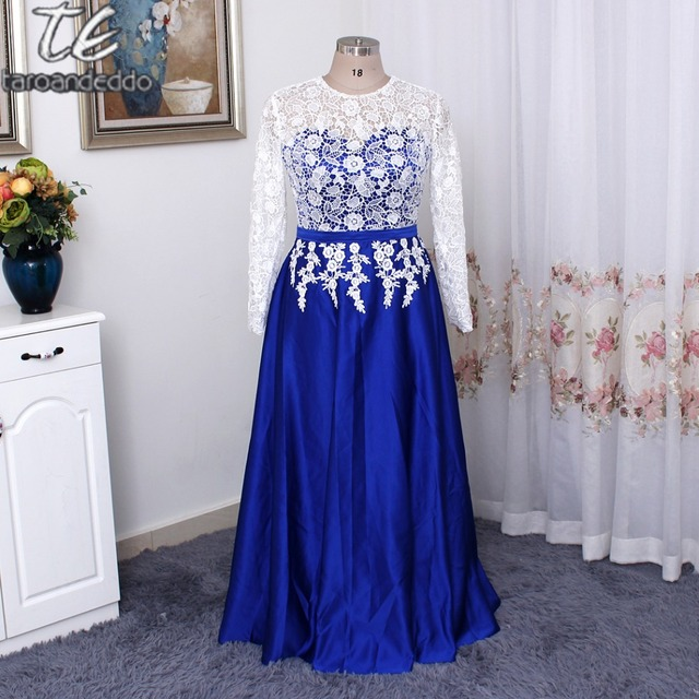 9fa4979b2cd White and Blue Long Sleeves Plus Size Prom Dresses 26W Customized Made Long Evening  Dress Formal Gown vestido formatura