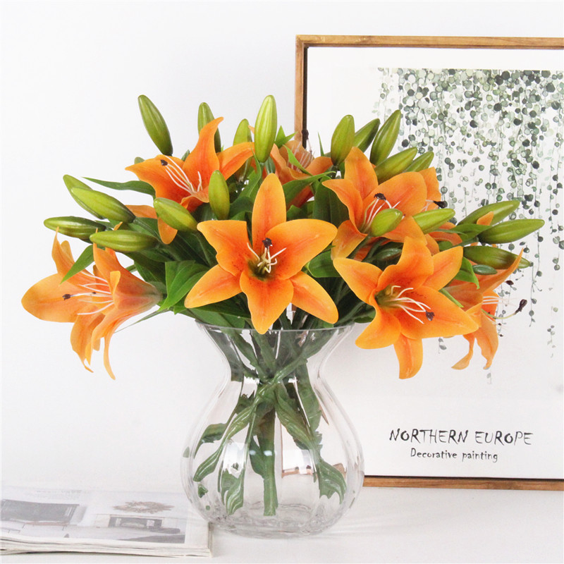 Image 4 - HI Q 11pcs 3 heads real touch PVC artificial  lily silk decorative flower for wedding decoration Christmas gift-in Artificial & Dried Flowers from Home & Garden