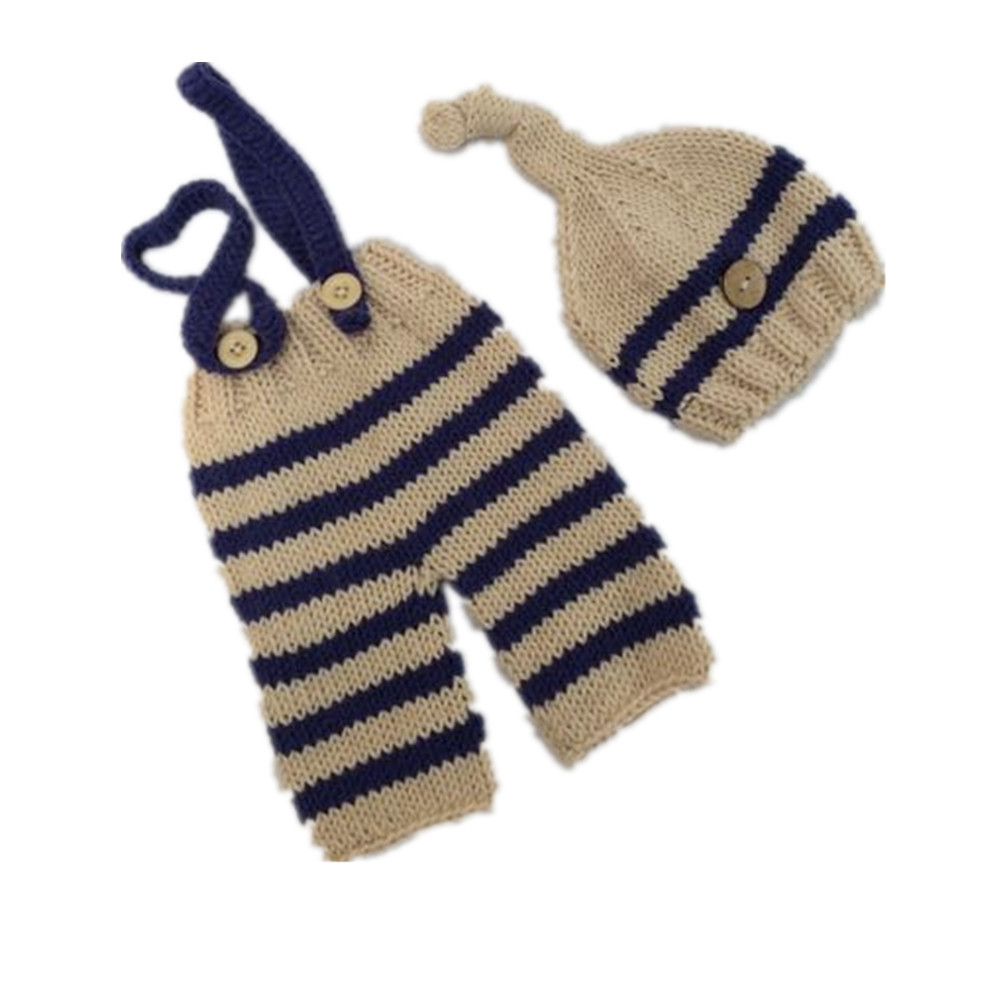 Infant Knit Crochet Costume Blue Striped Soft Outfits Elf Button Beanie+Pants Newborn Baby Photography Props