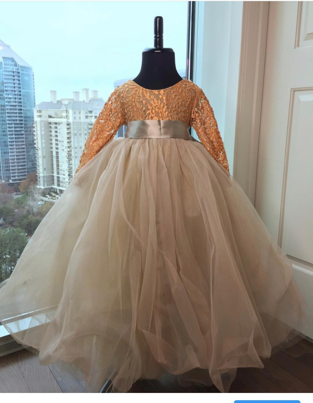 Lovely Ball Gown Tutu   Flower     Girl     Dress   Long Sleeve Puffy Tulle Lace   Girls   Party   Dress   Custom Made