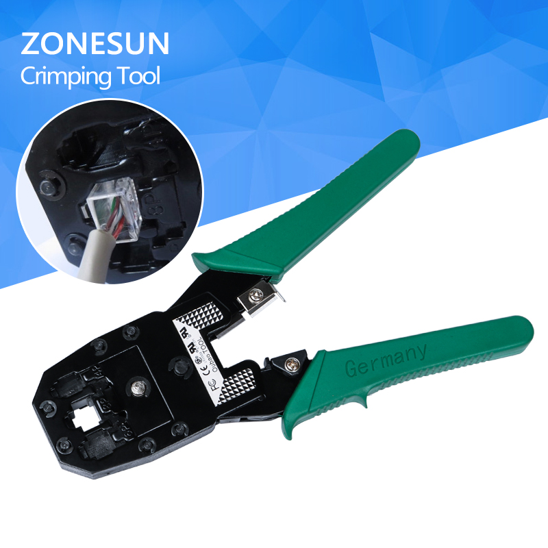 цена на ZONESUN hand tools crimper Crimping Cable Stripper pressing line clamp pliers tongs for network EZ RJ45 RJ11 connectors