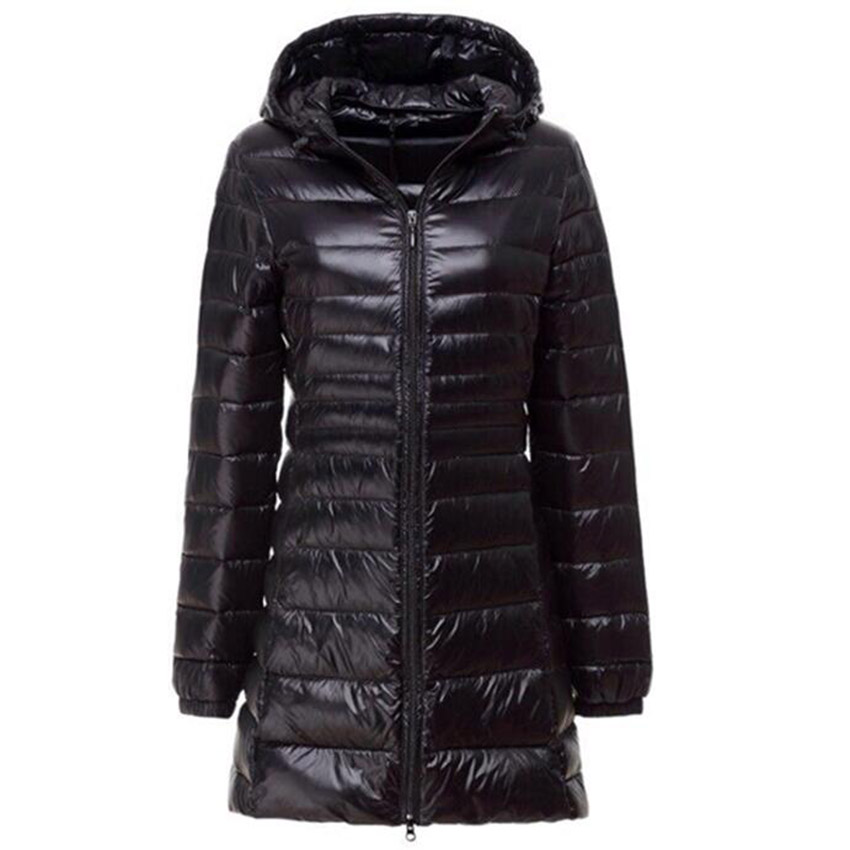 Image 3 - Women Ultra Light Down Jacket Autumn Winter Warm White Duck Down Parkas Long Hooded Thin Lightweight Coat Plus Size S~6XL AB497-in Down Coats from Women's Clothing