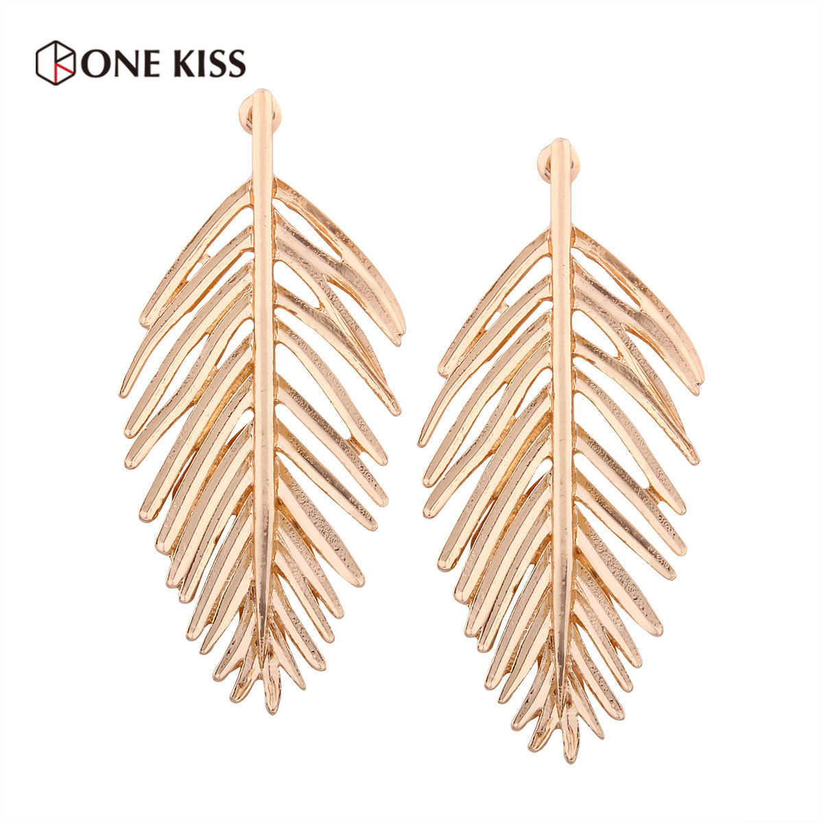 2019 New Design Metal Gold Leaf Earrings for Women Trendy Statement Big Dangle Drop Long Earrings ZA Pendientes Jewelry Gift
