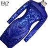 1920s Flapper Dress Blue Tattoo Sequin Bodycon Dress Long Sleeve Vintage Gatsby Dress Womens Sexy Dresses
