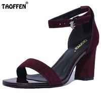 TAOFFEN gerçek deri çapraz ayak bileği askı kadın sandalet kare yüksek topuklar sandalet kadınlar için elbise parti ayakkabı boyutu 34-39 RA00009