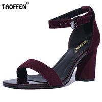TAOFFEN real leather cross ankle strap women sandals square high heels sandals dress party shoes for women size 34-39 RA00009