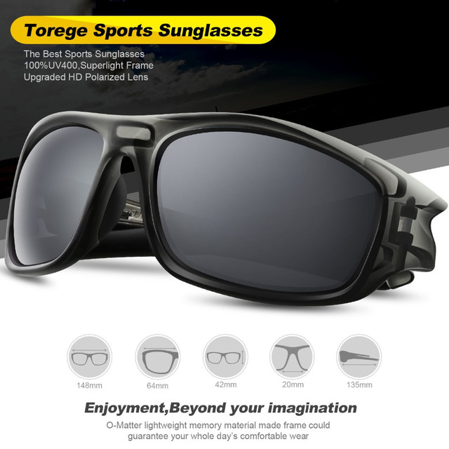 29fb8c21a47 TOREGE Polarized Unisex Sunglasses For Driving Golf TR90 Unbreakable Frame Men s  Fashion Eyewear Goggles Style UV400