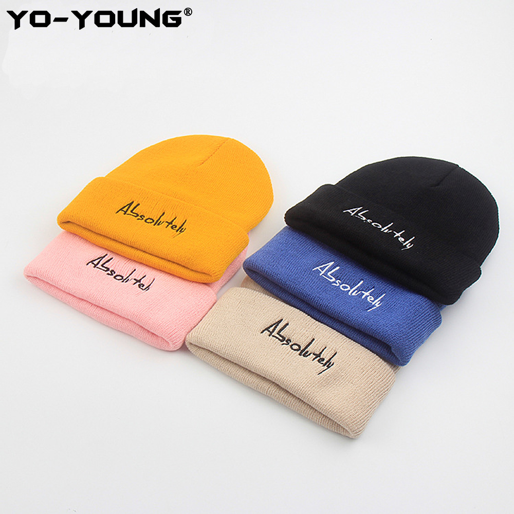 Yo-Young Knitted Skullies Beanies Unisex Autunm Beanie Hat Female Warm Cap Cotton Casual Solid Letters Beanie Hat Men 53-58 Cm