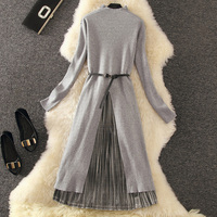 Mooirue 2PC Irregular Long Sweater Split Dress + Pleated Skirt Women Autumn Winter Elegant Suits Waist Belt Included