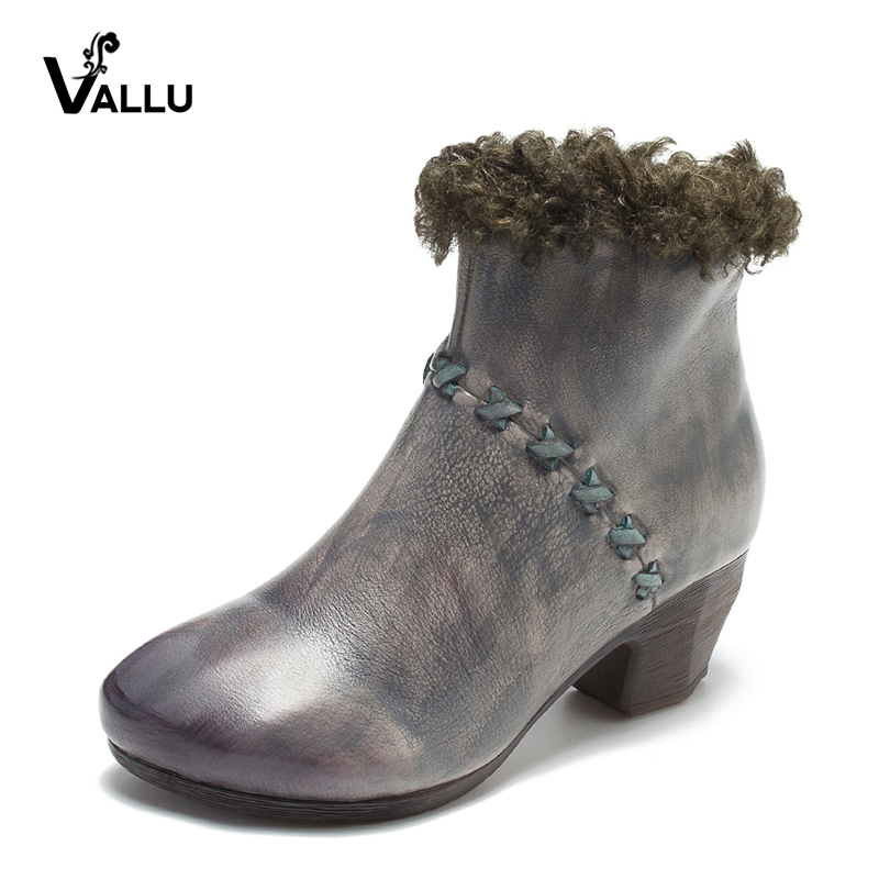 VALLU Vintage Leather Shoes Women Ankle Boots Round Toes Side Zipper 2018 Autumn Winter Handmade Block Heels Ladies Boots джемпер tommy hilfiger tommy hilfiger to263embwfc9